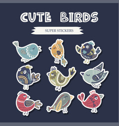 folk art bird set vector image