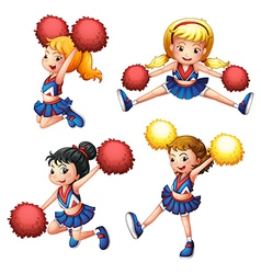 Four cheerdancers with their pompoms vector image