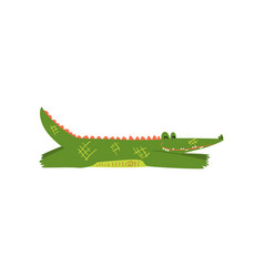 friendly crocodile lying sprawled on floor vector image