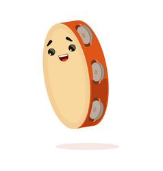 Funny tambourine musical instrument cartoon vector