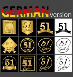 German set of number 51 templates vector