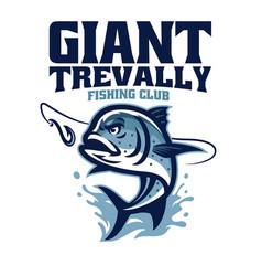 Giant trevally fishing club logo vector