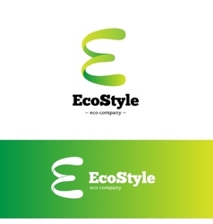 Green gradient E letter logo Ecology vector