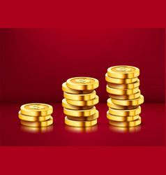 growing stack golden dollar coins isolated on vector image