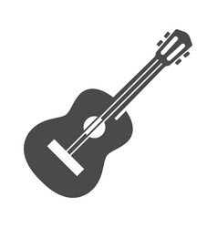 guitar acoustic or electric bold black silhouette vector image