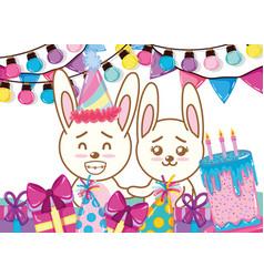 happy birthday rabbits cartoons vector image