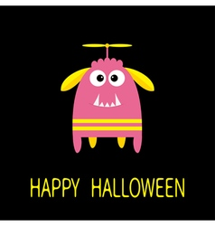 Happy Halloween greeting card Pink monster with vector image