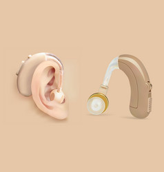 Hearing aid behind the ear sound amplifier vector