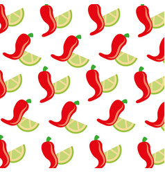 hot mexican chili pepper lemon fast food seamless vector image