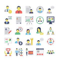 human resources flat colored icons set 1 vector image