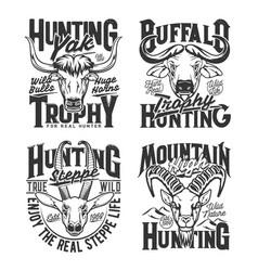 hunting club horned animals mascot t-shirts prints vector image