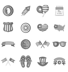 Independence day icons set monochrome vector
