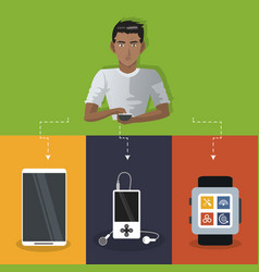 internet things man with smartphone smart watch vector image
