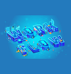 isometric and work flow vector image