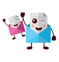 kawaii pair email envelope cartoon characters vector image