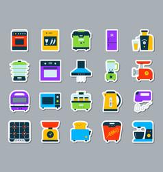 Kitchen appliance patch sticker icons set vector