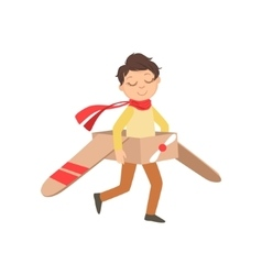 Little Boy In Vintage Pilot Leather Outfit Playing vector
