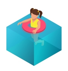 Little girl swimming in inflatable ring Flat 3d vector