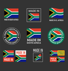 made in south africa icon set product labels of vector image