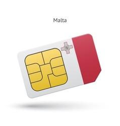 Malta mobile phone sim card with flag vector