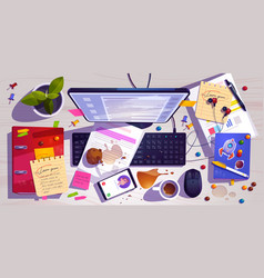 Messy workplace top view clutter office desk vector