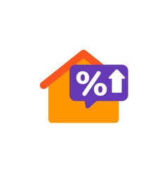 Mortgage rate growing icon with house vector
