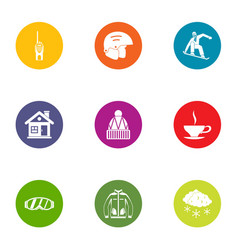 Mountain sport icons set flat style vector