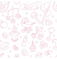 newborn bashower seamless pattern boy girl vector image