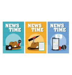 News time cards vector