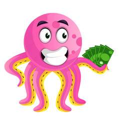 octopus hodling money on white background vector image