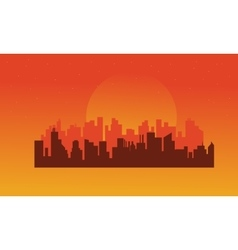 On orange backgrounds urban silhouettes vector image