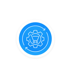 Order processing shopping cart and cogwheel icon vector