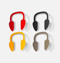 paper clipped sticker wireless headphones vector image