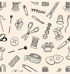 Pattern of sewing kit vector