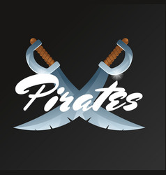 Pirates game element with crossed swords vector
