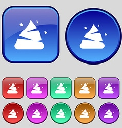 Poo icon sign a set of twelve vintage buttons for vector