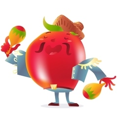 Red tomato character in torero clothes singing and vector image