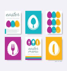restaurant easter menu cover design set vector image