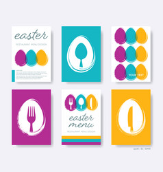 Restaurant easter menu cover design set vector