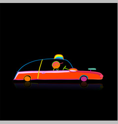 retro taxi car automobile urban transport vector image