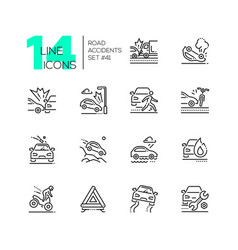 Road accidents - set of line design style icons vector