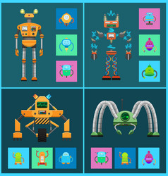 robot collection with icons vector image