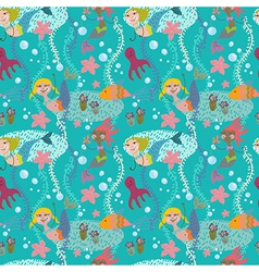 seamless cartoon background with color mermaid vector image