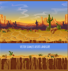 Seamless desert landscape game cartoon vector