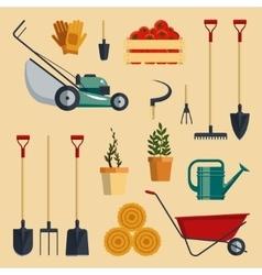 Set farm tools flat- Garden vector