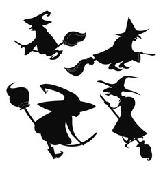 Set of black silhouettes of witches flying on a vector