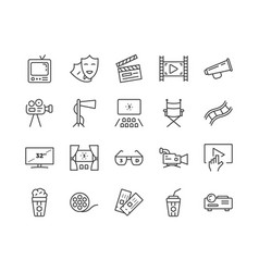 simple set cinema related line icons vector image