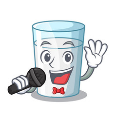Singing fresh milk glass in cartoon table vector