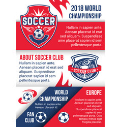 Soccer championship match poster of football sport vector