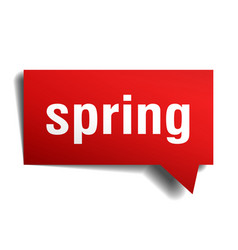 Spring red 3d speech bubble vector